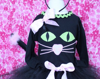 Halloween costume,Black cat costume,girl Halloween cat costume,Black tutu,Cat tail,Cat ears headband,Cat face,Black and Pink cat costume