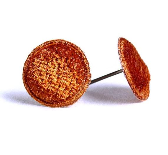 Amber brown velvet padded round dot applique hypoallergenic stud earrings READY to Ship (336)