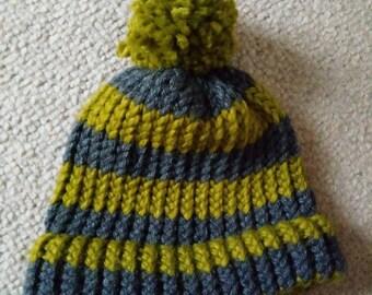 Striped pompom hat