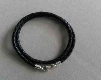 Double black bracelet braided leather Silver 925