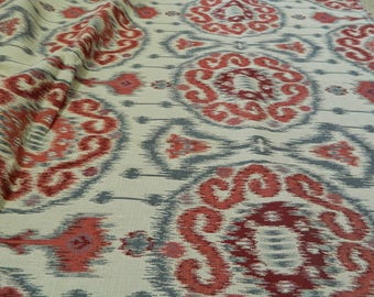 Kravet Ikat 31393 915 Fabric - Red and Blue Gray Decorative Throw Pillow Cover /Suzani, Medallion, Damask Southwest / Woven Jacquard Fabric