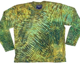 XL Shibori Men's Long Sleeve T Shirt Green Peridot Tie Dye