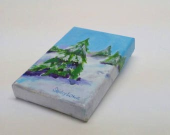Snow painting, Winter painting, winter landscape, original mini painting, Shirley Lowe original, snow lover gift, snow landscape, 4x6 inches
