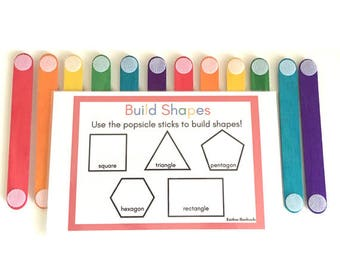Building and Learning Shapes with Craft Sticks – Preschool Learning Activity – Popsicle Stick Shapes – Making Shapes – STEM Activity