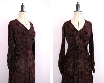 Vintage 1920s 30s Devoré silk velvet gown - 20s 30s Burnout velvet flapper dress - 30s Devoré dress - 30s evening gown dress - 30s dress