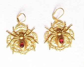 Spider Earrings, Handmade, 24kt gold plated