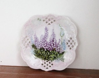 SPRING SALE - Hand Painted Lupine Dish, Small Plate, China Painted, Porcelain, Reticulated, White and Purple, Vintage Item, Shabby Chic