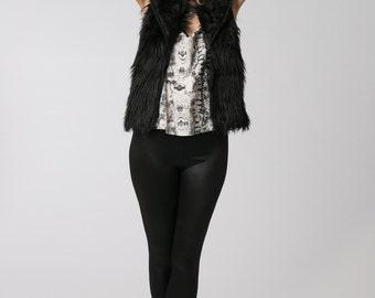 Black Faux Fur Vest, Bohemian Vest, Womens Black Vest, Sleeveless Jacket, Fashionable Bohemian Clothing Gift
