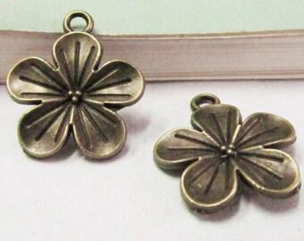 25pcs Flower Charms Antique Bronze Rose Flower Charm Pendants 20x23mm D102-5