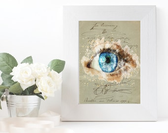 Vintage digital print art designs decor Eye printable wall art nursery Digital illustration Abstract pictures Art wall decor Old script page