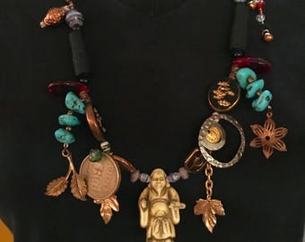 Buddha Beaded Necklace. Eclectic Long Beaded Necklace, Treasure Necklace, Handmade.