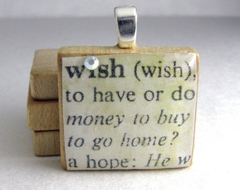 Wish - vintage dictionary Scrabble tile pendant with Swarovski crystal