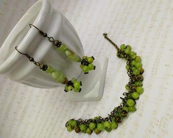 Bracelet and earrings onyx handmade
