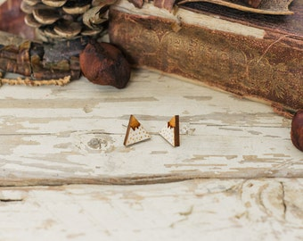 Twin Peaks Wooden Earrings, Laser Cut Plywood Studs, Mountain Jewellery