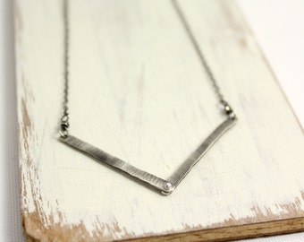Riveted Chevron Oxidized Silver Necklace