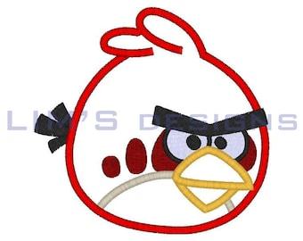 "Red Furious Bird applique machine embroidery design- 3 sizes 4x4"", 5x7"", 6x10"""