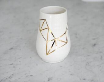 18K Handpainted Gold Large Porcelain Vase- Fitzgerald Collection
