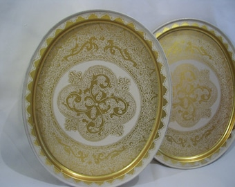 Large Gold White Lace Looking,Fancy Tin Container, Storage