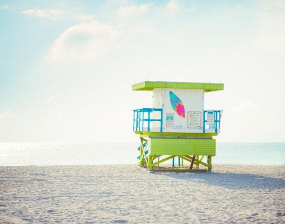 Beach Art, Lifeguard Stand Photo, Pastel Print, Teen Room Art, Childrens Decor, Coastal Decor. Bright Pastels
