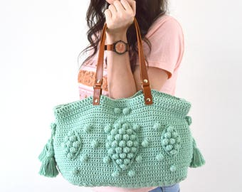 Gerard Darel Dublin 24 Hour Inspired Handbag with Genuine Leather Handles, Crochet bag, Tote, Purse, Boho Summer Bag