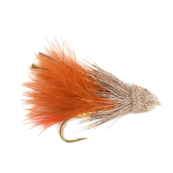 Hand-Tied Fly Fishing Trout Flies: Brown Marabou Muddler Minnow Classic Streamer Wet Fly - Hook Size 4