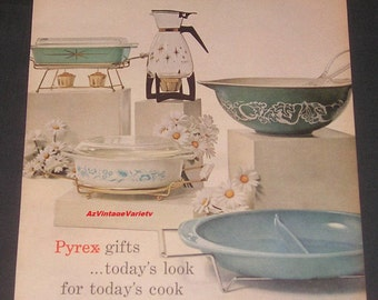 1960 Pyrex Ware, Vintage Print Ad, Serving Pieces, Casseroles, Carafe, Bowl, Dish, Turquoise, Blue, Green