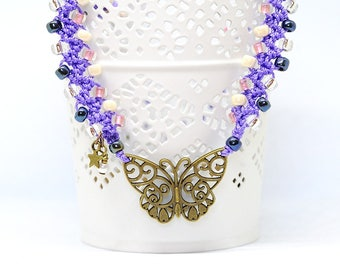 Boho chic crocheted necklace with butterfly charm and japan glass beads - gift for her - Mother's day