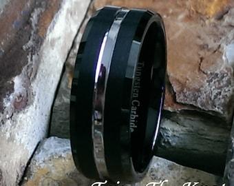 Tungsten Wedding Band, Black Tungsten Wedding Band, Men's Tungsten Wedding Band, Tungsten Ring, Personalized Engraving, Silver Ring, - AZ37