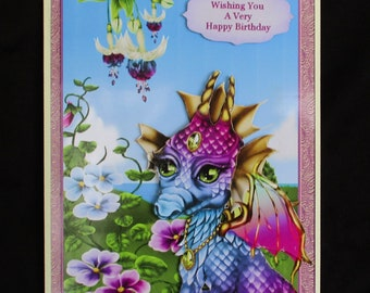 Floral & Purple Dragon Card, Cute Dragon Birthday Card, 3d Decoupage Card, Floral and Purple Dragon, Personalise Card,  Handmade in the UK,