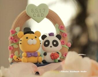 Panda and Tiger Wedding Cake Topper