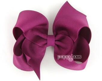 Girls Hair Bows - magenta hair bow - 4 inch bows - large hair bows - girls hairbows - bows for girls - toddler hair bows - big hair bows