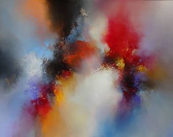 Contemporary, large, abstract mixed media painting on canvas by artist Simon Kenny 'In Dreams We See The Light'