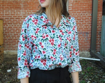 Vintage Blouse, Button Down, Floral, Docker's, 90's Clothing, Vintage Clothing, Retro Clothing, Twee, Romantic Blouse, Long Sleeve, Large