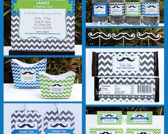 Mustache Party Invitations & Decorations - full Printable Package - Little Man - INSTANT DOWNLOAD with EDITABLE text - you personalize