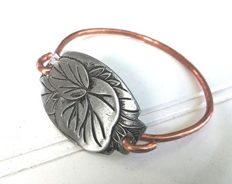 Bangle Bracelet Carved Aluminum Heavy Copper Handmade  Any size available Vintage Design