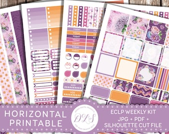 Horizontal Planner Kit, Weekly Horizontal Stickers, Floral Planner, ECLP Sticker Kit, Printable Planner Stickers, Planner Stickers PDF HS112