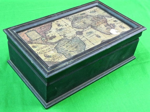 Vintage old japan japanese made world map jewelry box like this item gumiabroncs Choice Image