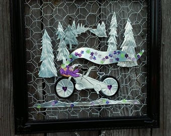 Tandem Bicycle PURPLE Aluminum Soda Can Wall Art