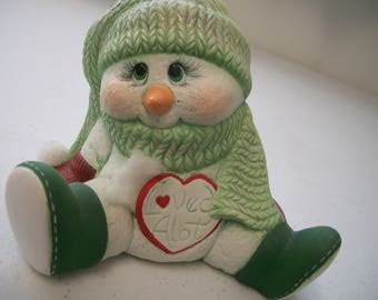 Ceramic snowman Loved alot Christmas decoration