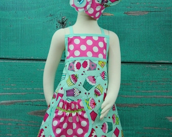 Girls Party Aprons - Teal and Pink Cupcake - size 7-10 READY TO SHIP