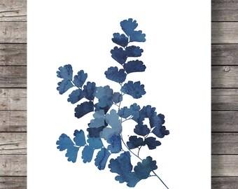 Maidenhair fern wall decor | Printable art | Modern minimalist wall decor | Navy Indigo wall art | Fern art | Botanical art print | indigo