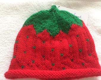 STRAWBERRY SHORTCAKE HAT, size 3-6 mos.