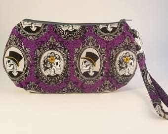 Halloween Wristlet | Halloween Wedding Clutch | Halloween Purse | Skull Purse | Skull Phone Case | Tampon Holder  | Day of the Dead