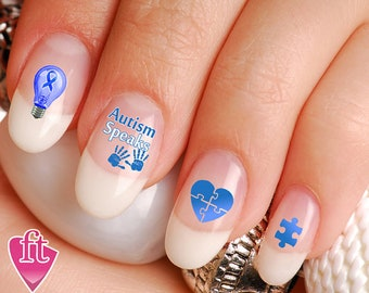 Nail Decals Rainbow Autism Awareness Light it up Blue (Peel and Stick) AUT903