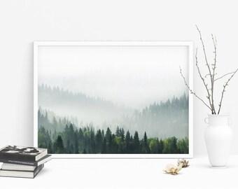 Fog Mountains Landscape - Misty Forest Photography, Fog Mist Photo Print, Nordic Prints, Minimalist wall Art, Instant Download Digital JPG