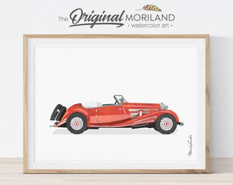Mercedes Print, Classic Car Print, Transportation Decor, Printable Car, Vehicle Wall Art, Girl Room Decor, Vintage Car Print
