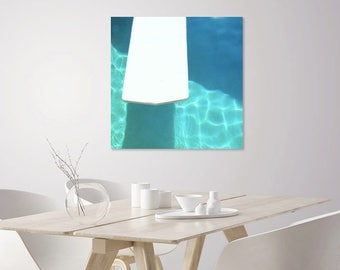 Pool Float Swim Photo | Turquoise Swimming Pool Decor | Blue Water, White Raft | Mid Century Modern Art Minimal Pool Print | Retro Wall Art