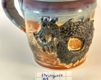 Dragon mug ,carved,#306