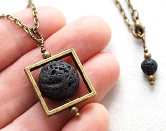 Jewelry Handmade Raw Stone Necklace Essential Oil Diffuser Necklace Square Black Lava Stone Necklace Full Moon Necklace mens custom necklace