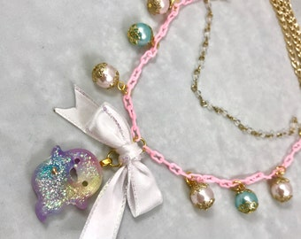 Pastel Ghost Necklace (FREE US SHIPPING) - Kawaii, Yumikawaii, Fairy Kei, Pastel
